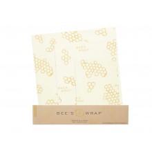 Sada 3 obalov Bee's Wrap rôznych veľkostí - Béžová s potlačou medového plástu