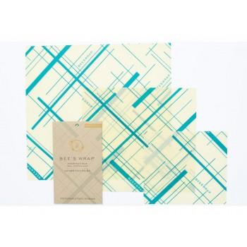 Sada 3 obalov Bee's Wrap rôznych veľkostí - Modro-zelená s geometrickou potlačou